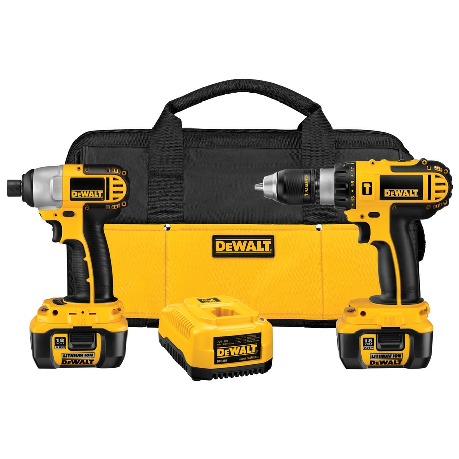 DEWALT 2-Tool 18-Volt Lithium Ion (Li-ion) Cordless Combo Kit with Soft Case