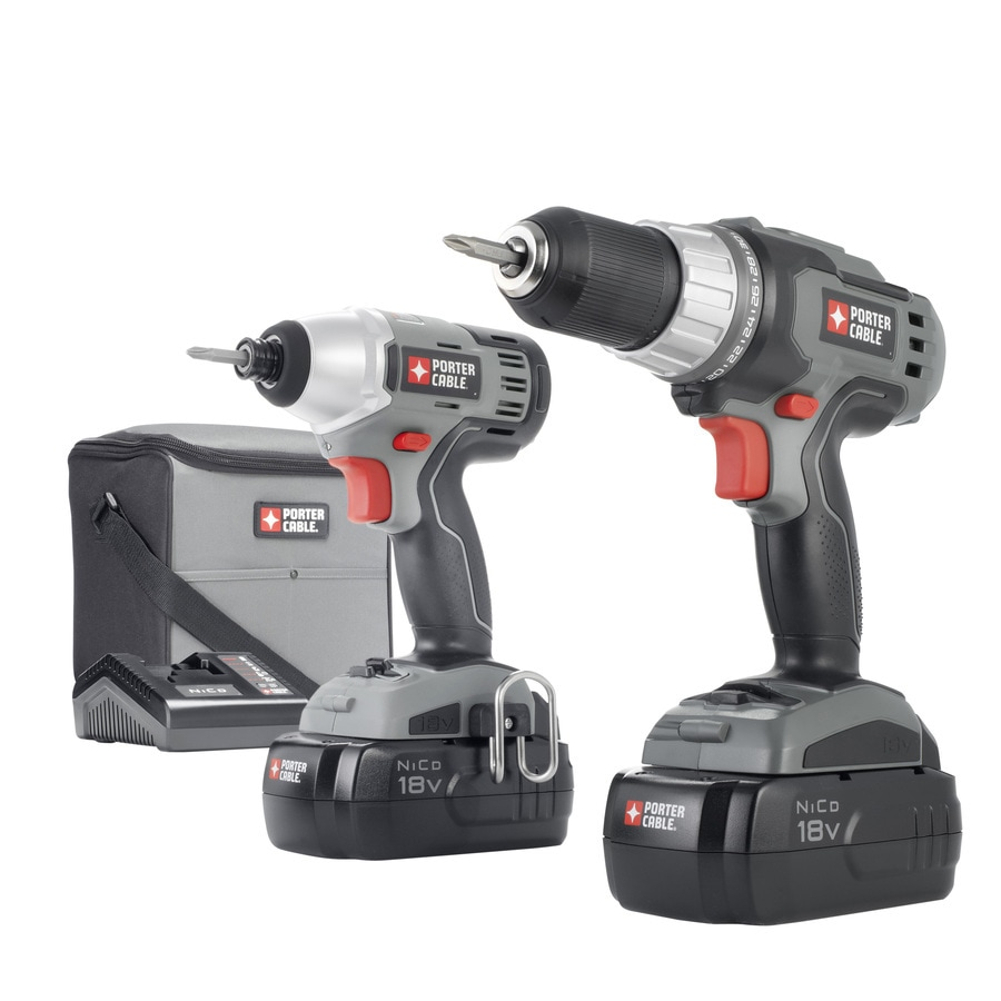 PORTER-CABLE 2-Tool 18-Volt Nickel Cadmium (Nicd) Brushed Motor Cordless Combo Kit with Soft Case