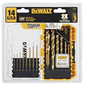DEWALT 14-Piece Assorted Titanium Twist Drill Bit Set