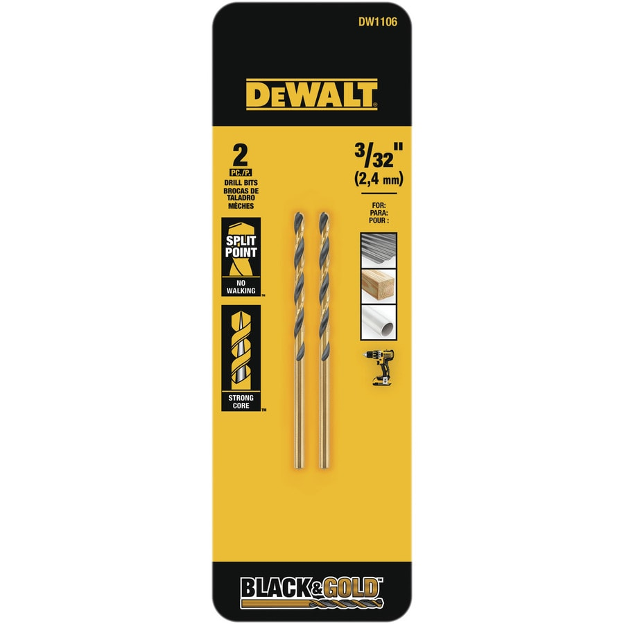 DEWALT 2-Piece 3/32-in Black Oxide Twist Drill Bit