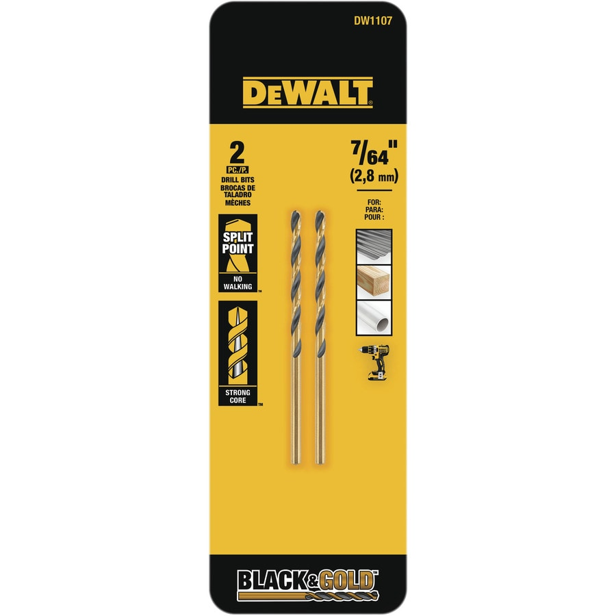 DEWALT 2-Piece 7/64-in Black Oxide Twist Drill Bit
