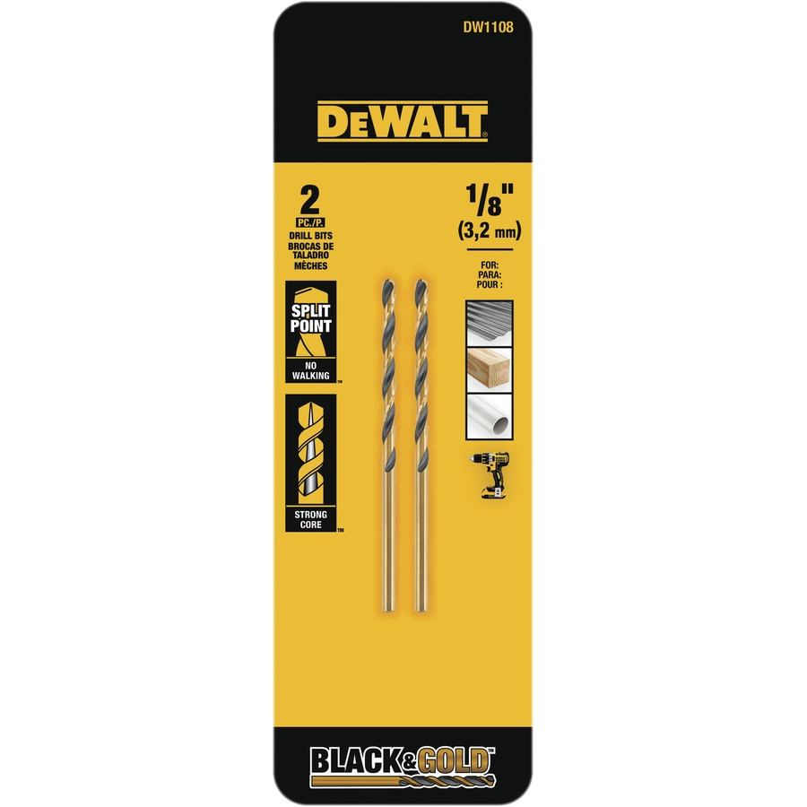 DEWALT 2-Piece 1/8-in Black Oxide Twist Drill Bit