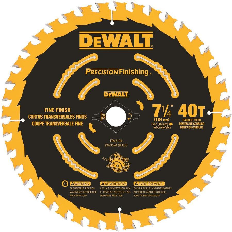 DEWALT Precision Trim 7-1/4-in 40-Tooth Carbide Circular Saw Blade