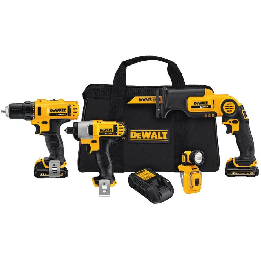 DEWALT 4-Tool 12-Volt Lithium Ion (Li-Ion) Motor Cordless Combo Kit with Soft Case