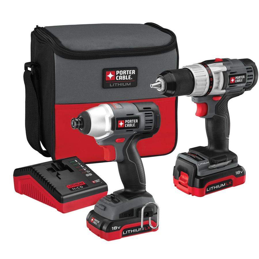 PORTER-CABLE 2-Tool Lithium Ion (Li-ion) Brushed Motor Cordless Combo Kit with Soft Case