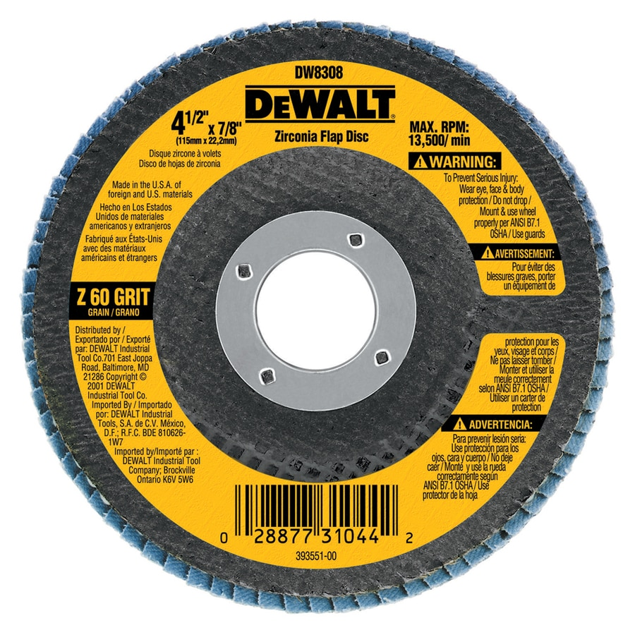 DEWALT 4.5-in W x 4.5-in L 60-Grit Commercial Flap Disc Sandpaper