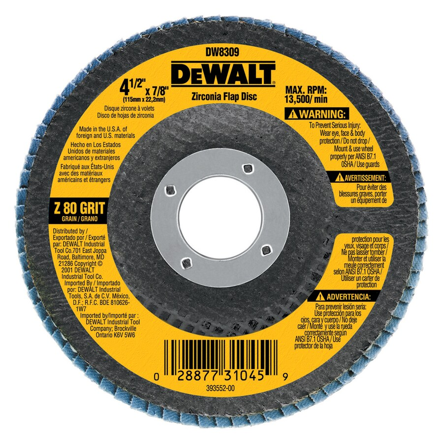 DEWALT 4.5-in W x 4.5-in L 80-Grit Commercial Flap Disc Sandpaper