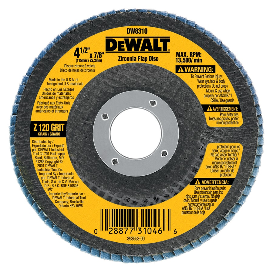 DEWALT 4.5-in W x 4.5-in L 120-Grit Commercial Flap Disc Sandpaper
