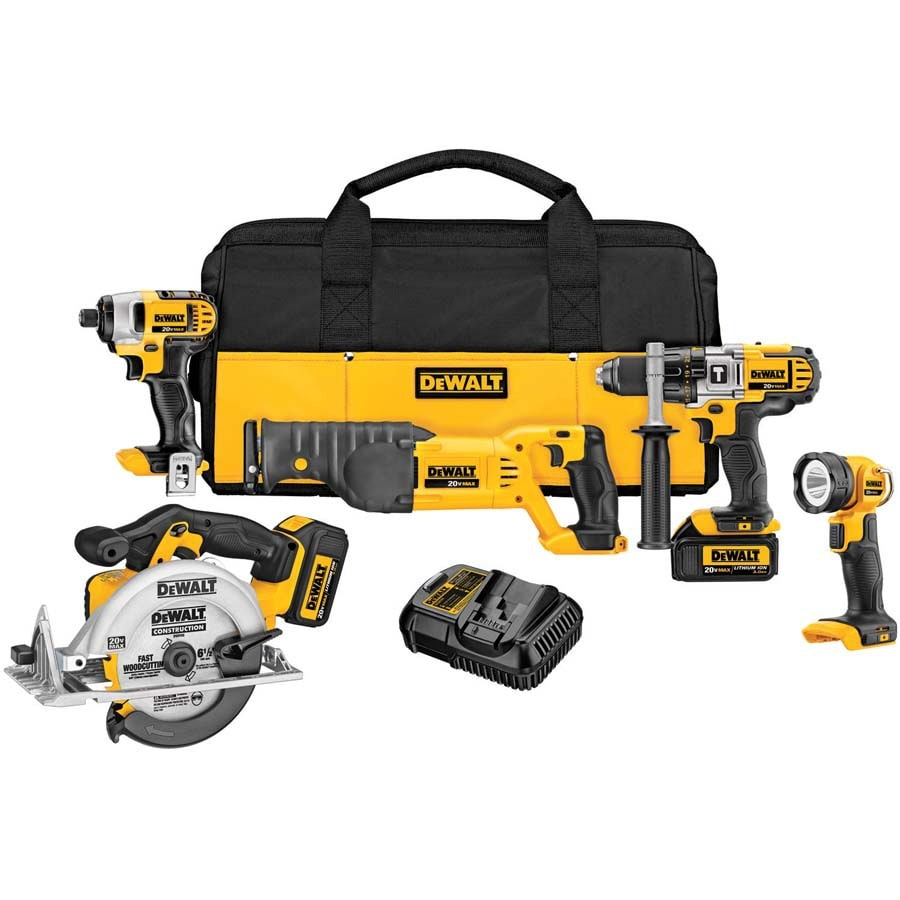 DEWALT Premium 5-Tool 20-Volt Max Lithium Ion (Li-ion) Brushed Motor Cordless Combo Kit with Soft Case