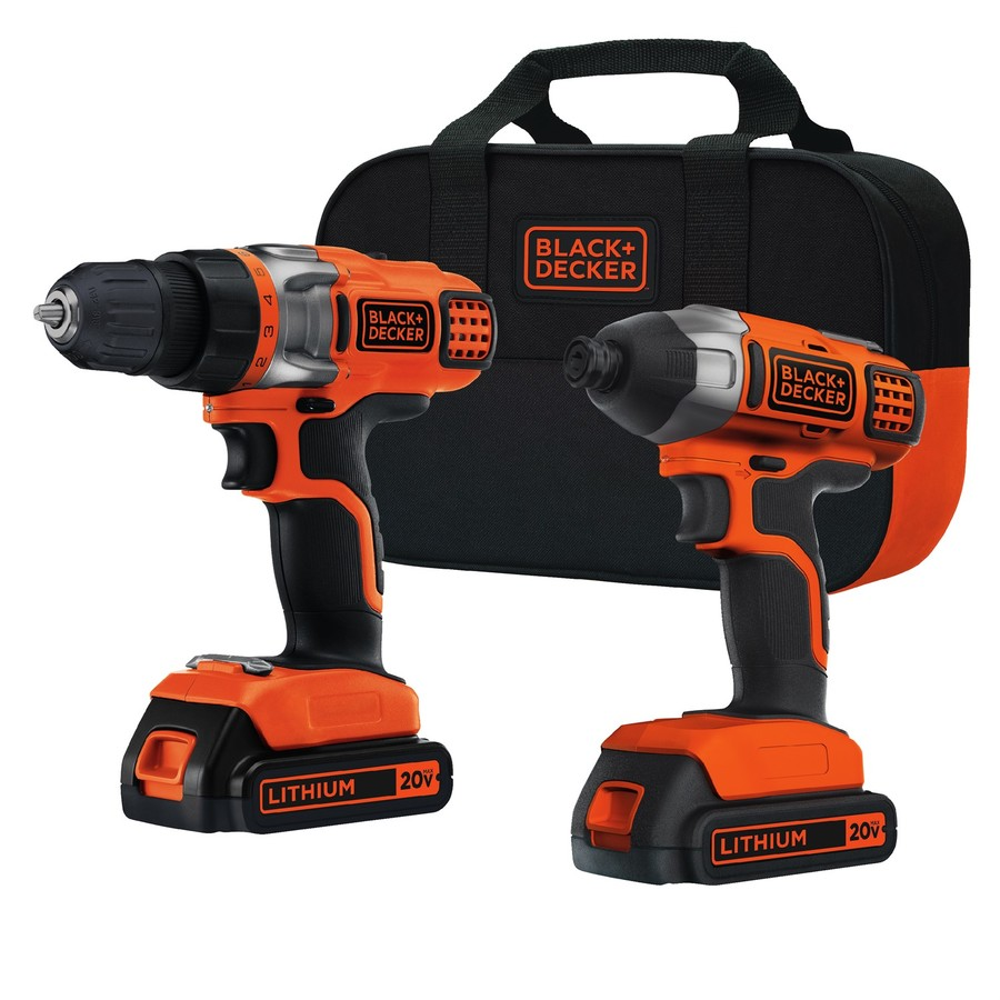 BLACK & DECKER 2-Tool 20-Volt Max Lithium Ion (Li-ion) Brushed Motor Cordless Combo Kit with Soft Case