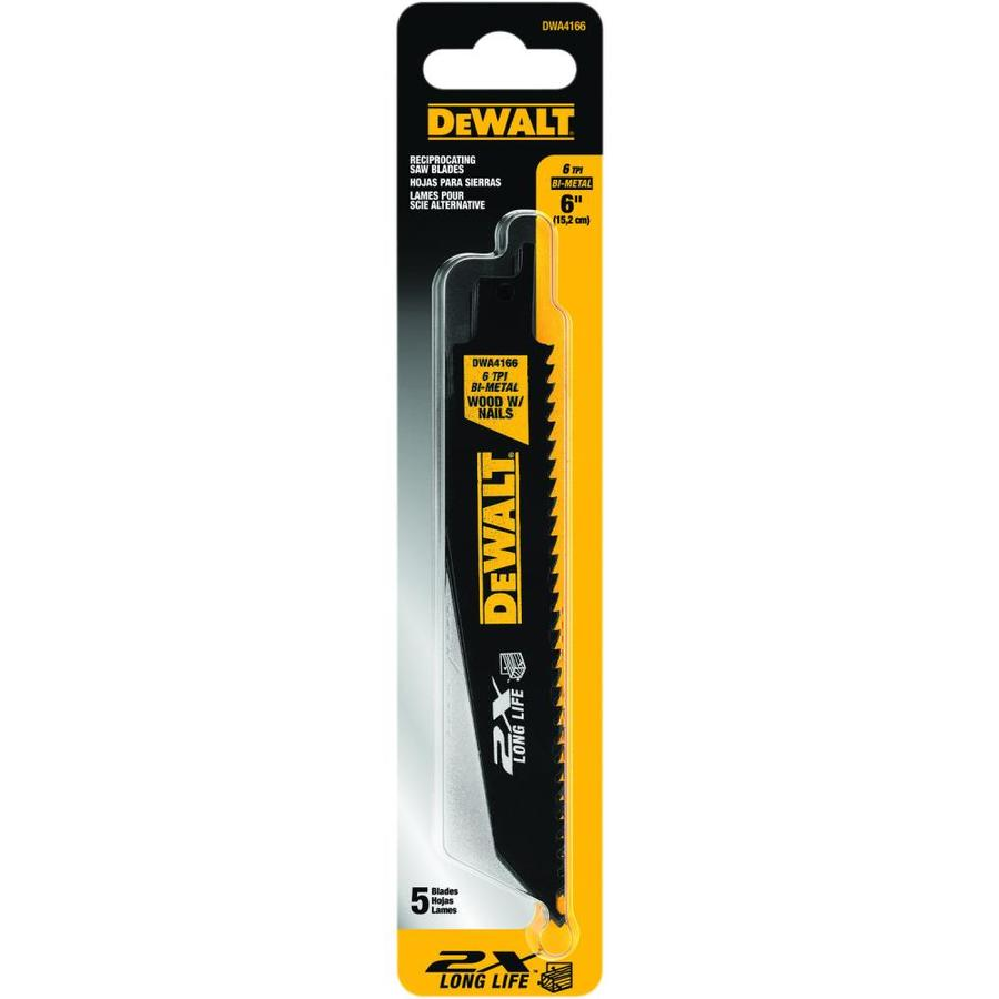 DEWALT 5-Pack 6-in 6-TPI Bi-Metal Reciprocating Saw Blade Sets