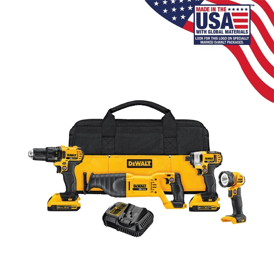 DEWALT 4-Tool 20-Volt Max Power Tool Combo Kit with Soft Case (Charger Included and 2-Batteries Included)