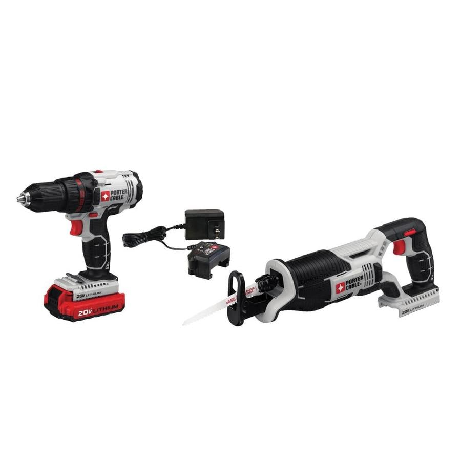 PORTER-CABLE 2-Tool 20-Volt Max Lithium Ion (Li-ion) Brushed Motor Cordless Combo Kit with Soft Case