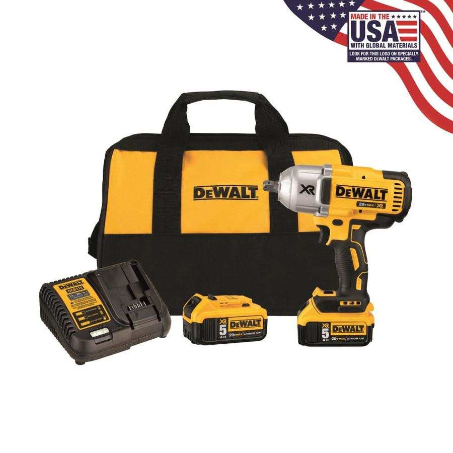 Dewalt Xr 20 Volt Max 1 2 In Drive Cordless Impact Wrench Batteries Included