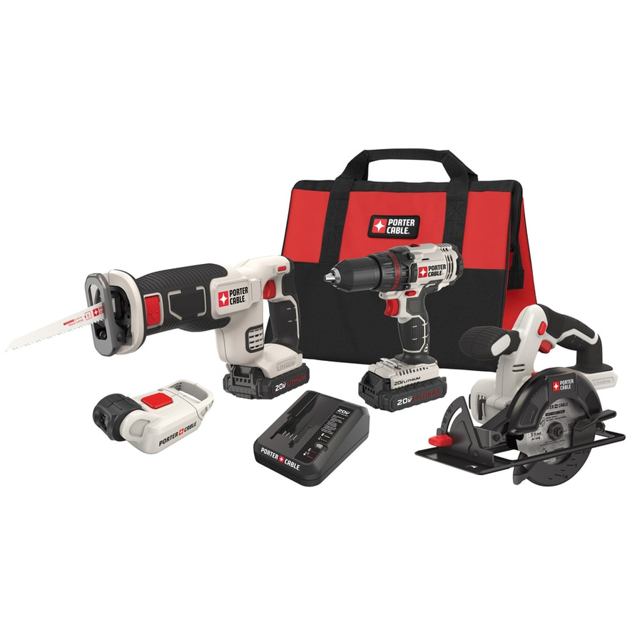PORTER-CABLE 4-Tool 20-volt Max Lithium Ion Cordless Combo Kit