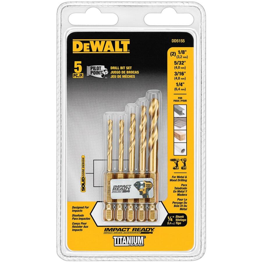 DEWALT 5-Pack Titanium Twist Drill Bit Set