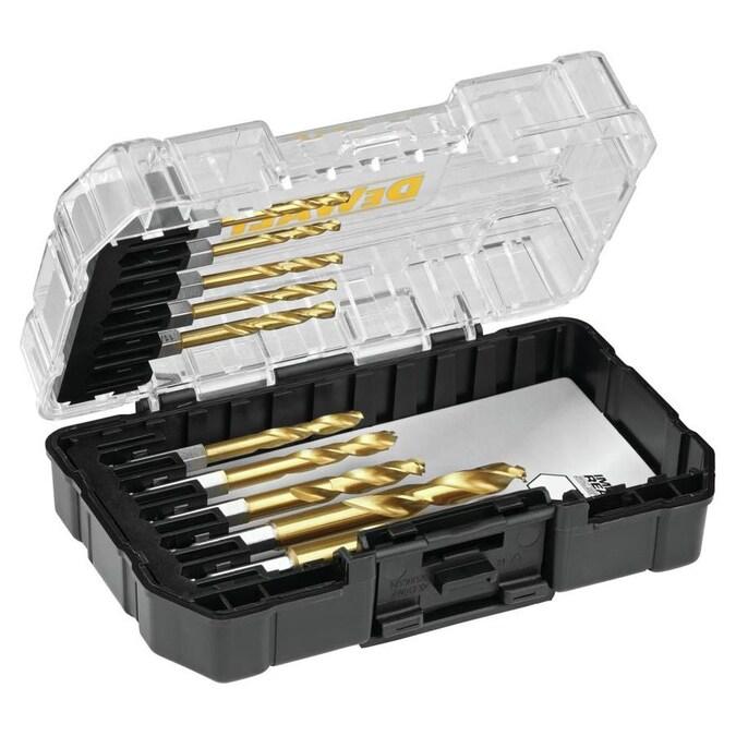 Dewalt 10 Pack Assorted Titanium Right Handed Twist Drill Bit Set In The Twist Drill Bits Department At Lowes Com