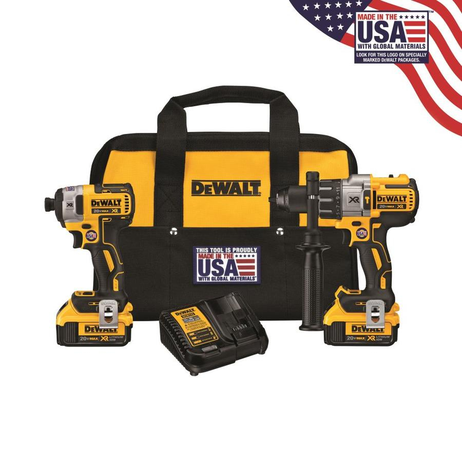 93ef5ef903d DEWALT XR 2-Tool 20-Volt Max Brushless Power Tool Combo Kit with Soft Case  (Charger Included and 2-Batteries Included)