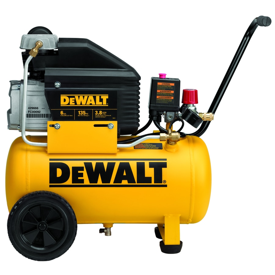 DEWALT 1.3-Hp 6-Gallon 135-PSI 120-Volt Horizontal Portable Electric Air Compressor