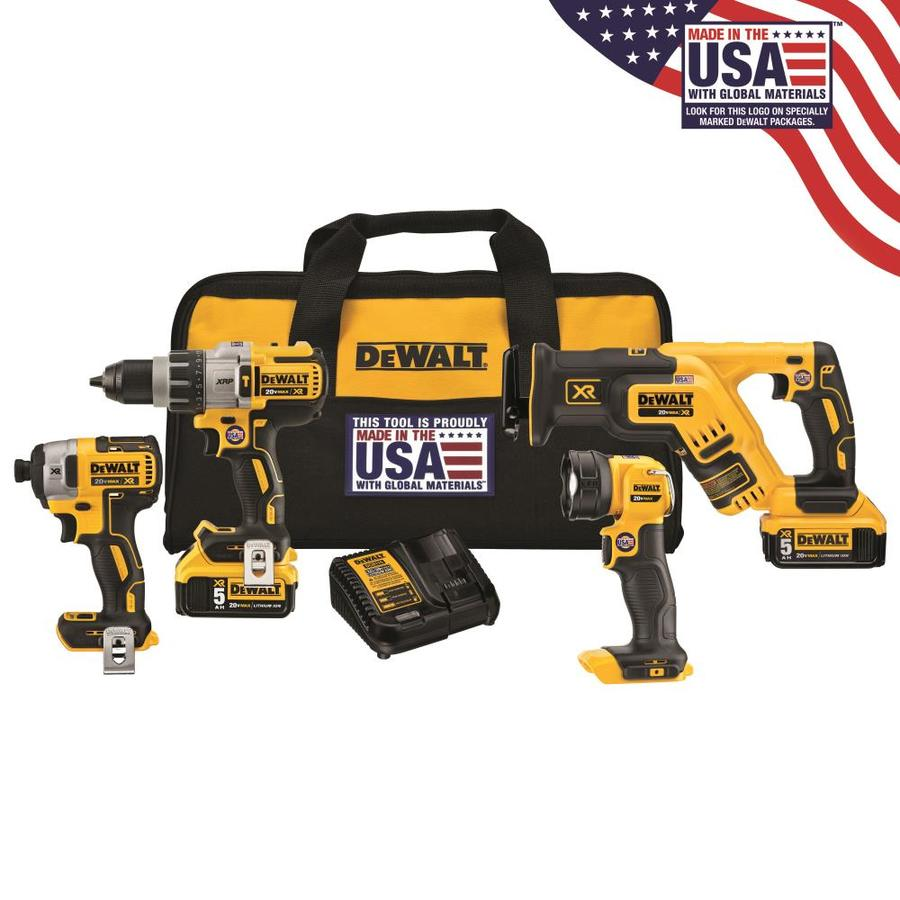 DEWALT XR 4-Tool 20-Volt Max Lithium Ion Brushless Cordless Combo Kit