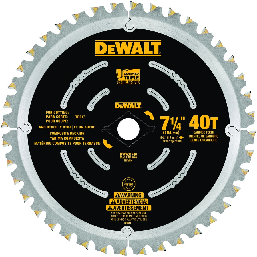 DEWALT 7-1/4-in 40-Tooth Dry Standard Carbide Circular Saw Blade