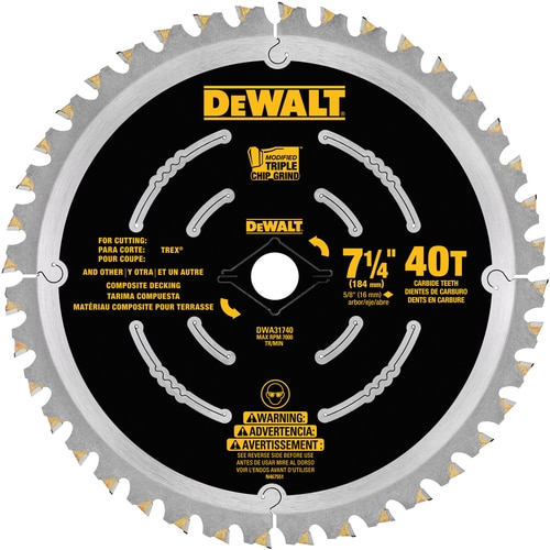 Dewalt 7 1 4 In 40 Tooth Carbide Circular Saw Blade In The Circular Saw Blades Department At Lowes Com