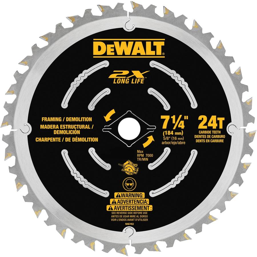DEWALT 7-1/4-in 24-Tooth Dry Standard Carbide Circular Saw Blade