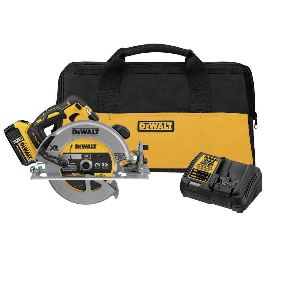 Dewalt Xr 20 Volt 7 1 4 In Brushless Cordless Circular Saw With Brake And Aluminum Shoe 1 Battery Included In The Circular Saws Department At Lowes Com