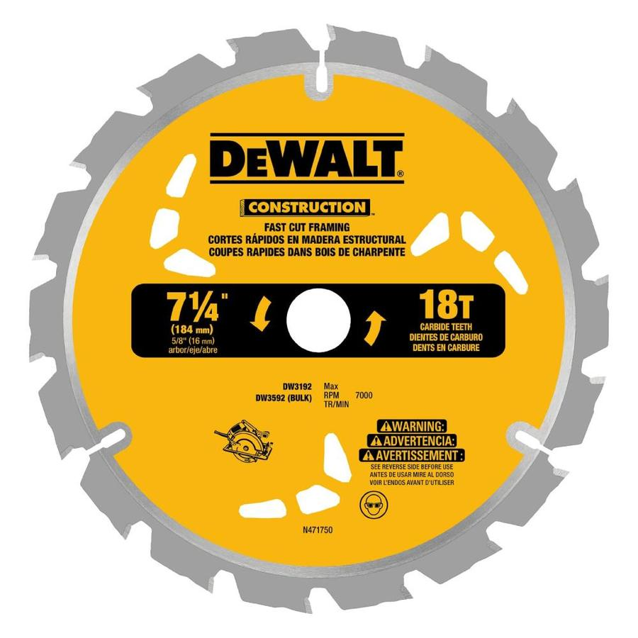 DEWALT Construction 3-Pack 7-1/4-in 18-Tooth Dry Continuous Carbide Circular Saw Blades