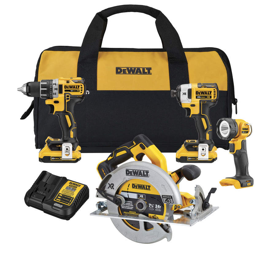 DEWALT XR 4-Tool 20-Volt Max Lithium Ion (Li-ion) Cordless Combo Kit with Soft Case
