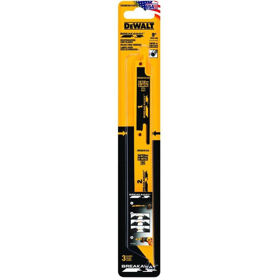 Shop dewalt breakaway 3 pack 9 in 1418 tpi bi metal reciprocating dewalt breakaway 3 pack 9 in 1418 tpi bi metal greentooth