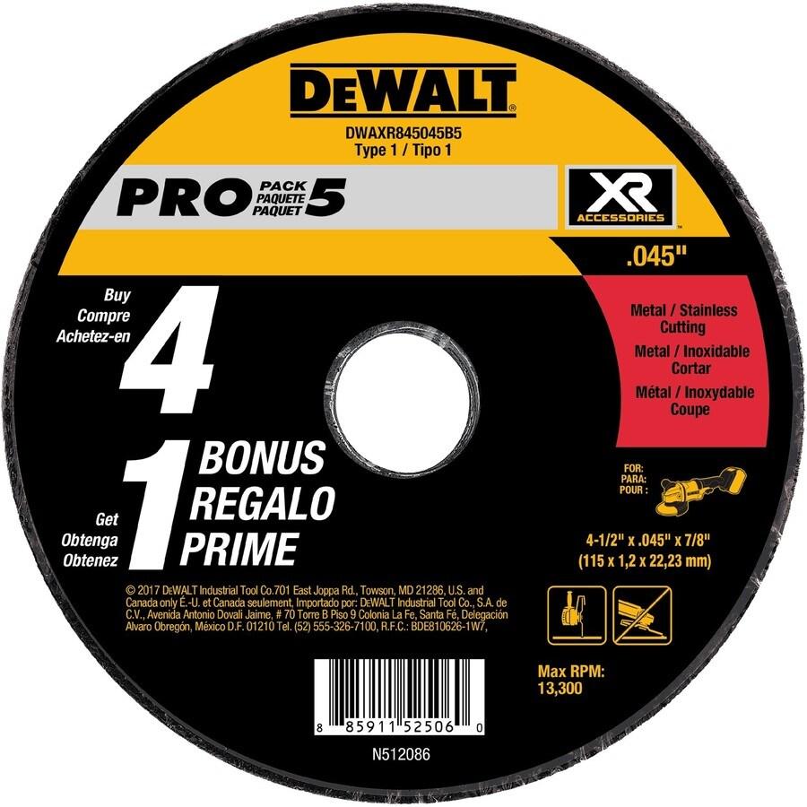 DEWALT 5-Pack XR Ceramic 4.5-in 60-Grit Grinding Wheel
