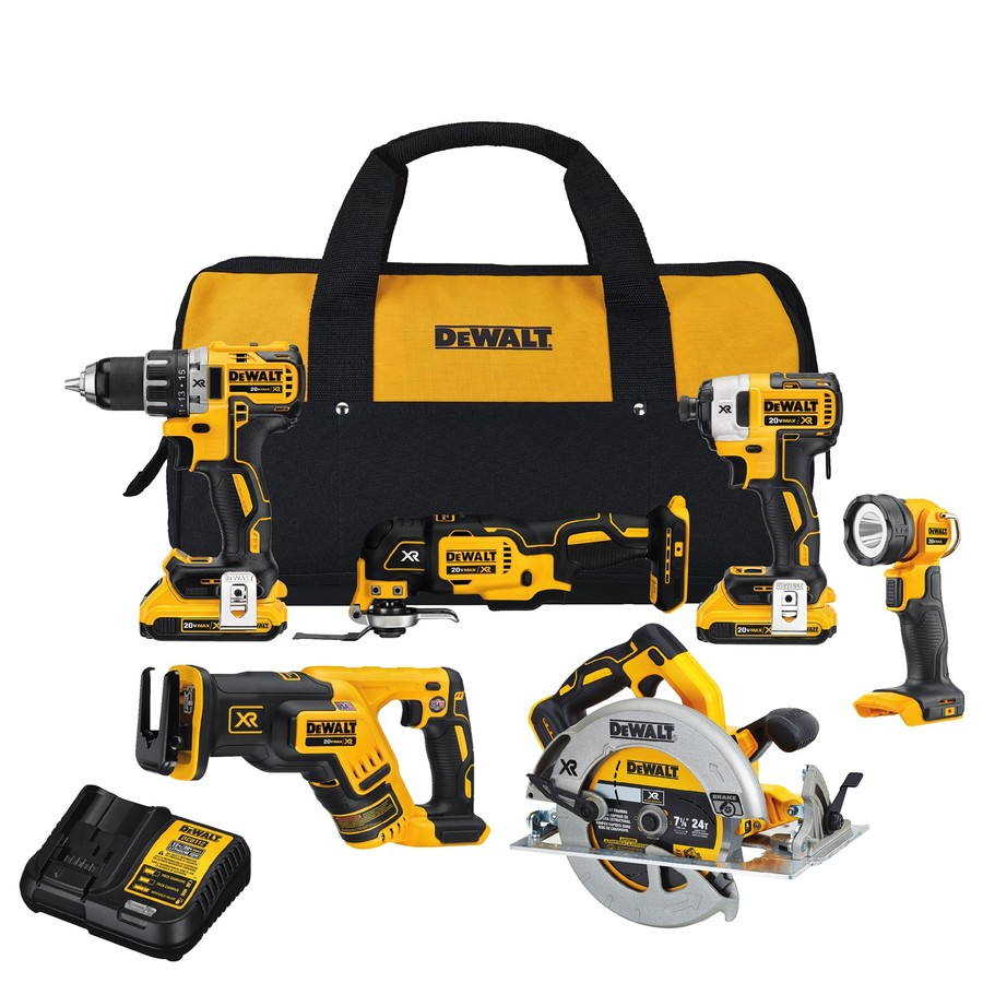 70eb280a0cf DEWALT XR 6-Tool 20-Volt Max Brushless Power Tool Combo Kit with Soft