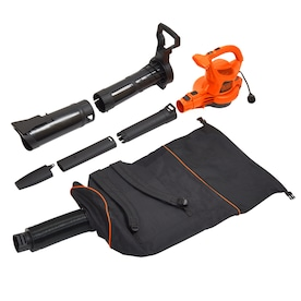 BLACK+DECKER 12-Amp 400-CFM 250-MPH Corded Electric Leaf Blower (Vacuum Kit Included)