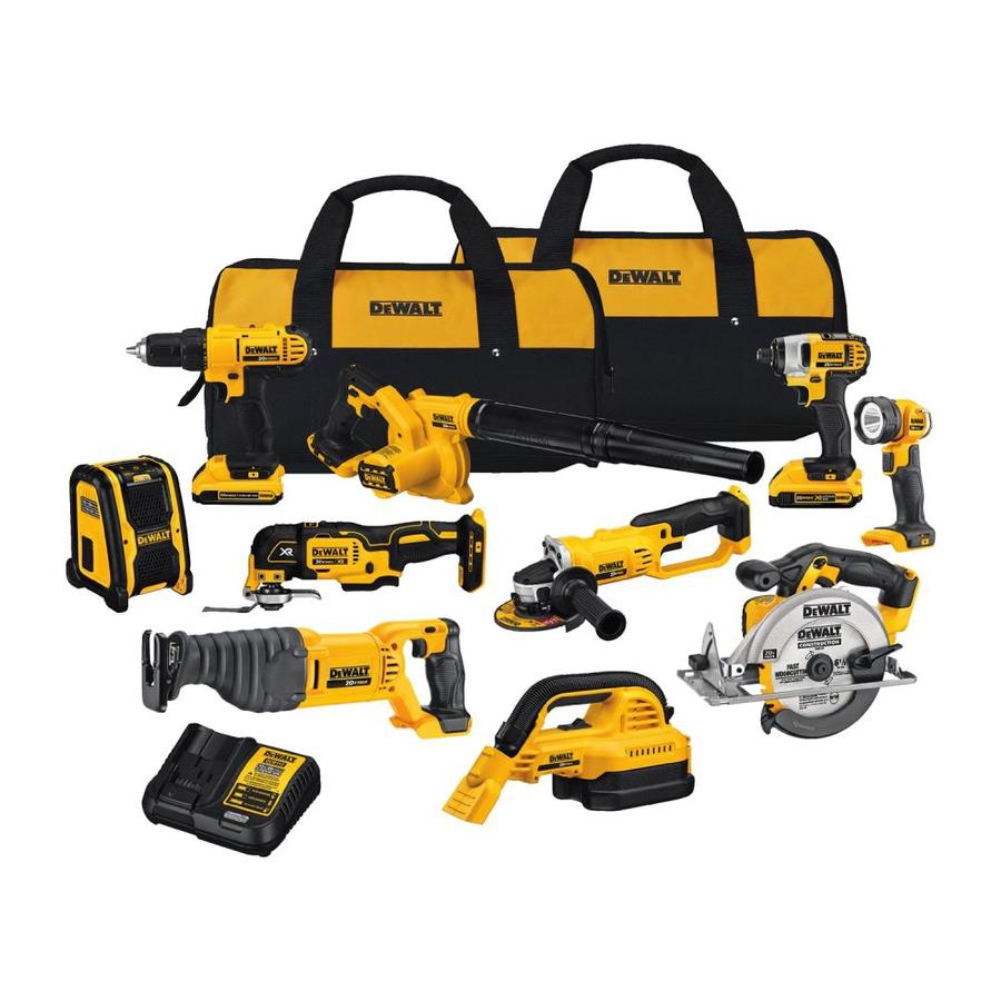 51a44648d95 DEWALT 10-Tool 20-Volt Power Tool Combo Kit with Soft Case (Charger  Included and 2-Batteries Included)