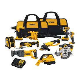 DEWALT 10-Tool 20-Volt Power Tool Combo Kit with Soft Case (Charger Included and 2-Batteries Included)