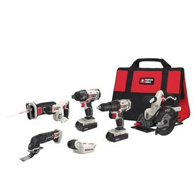 PORTER-CABLE 6-Tool 20-Volt Max Power Tool Combo Kit with Soft Case (Charger Included and 2-Batteries Included)