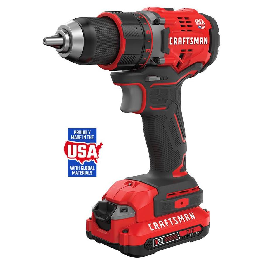 CRAFTSMAN V20 20-Volt Max 1/2-in Brushless Cordless Drill (Charger Included and 2-Batteries Included)