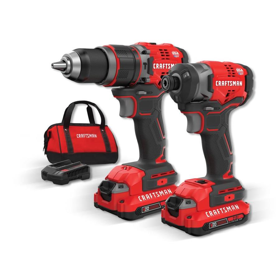 Craftsman V20 2 Tool 20 Volt Max Brushless Combo Kit With Soft Case Charger Included And Batteries