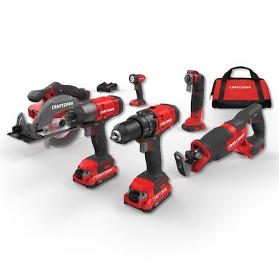 CRAFTSMAN V20 6-Tool 20-Volt Max Power Tool Combo Kit with