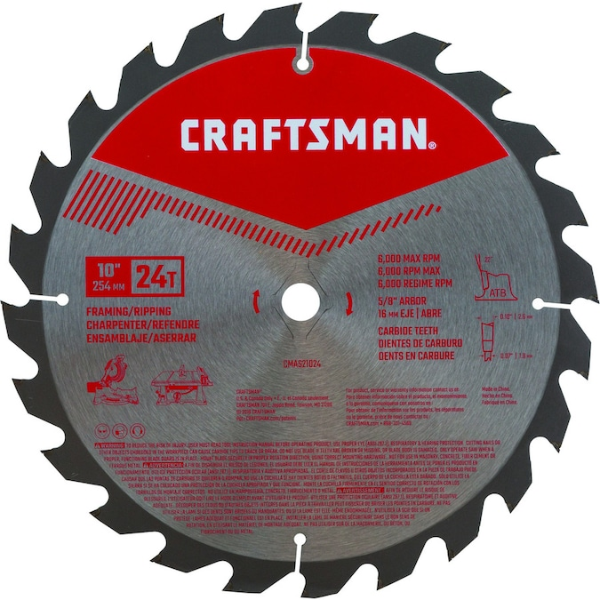 Craftsman 10 In 24 Tooth Carbide Miter Table Saw Blade In The Circular Saw Blades Department At Lowes Com