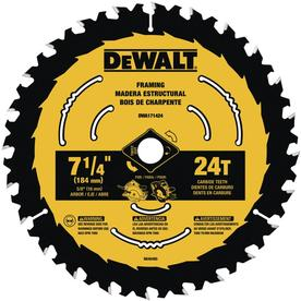 DeWalt 7-1/4 in. Dia. x 5/8 in. Circular Saw Blade Tungsten Carbide Tipped 24 teeth 1 pk - Case Of: 10; Each Pack Qty: 1