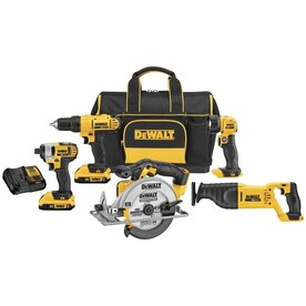 DEWALT 5-Tool 20-Volt Max Power Tool Combo Kit with Soft Case (Charger Included and 2-Batteries Included)