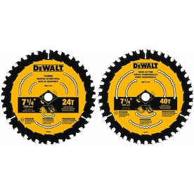 DEWALT 2-Pack 7-1/4-in 24 and 40 Set-Tooth Tungsten Carbide-Tipped Steel Circular Saw Blade Set