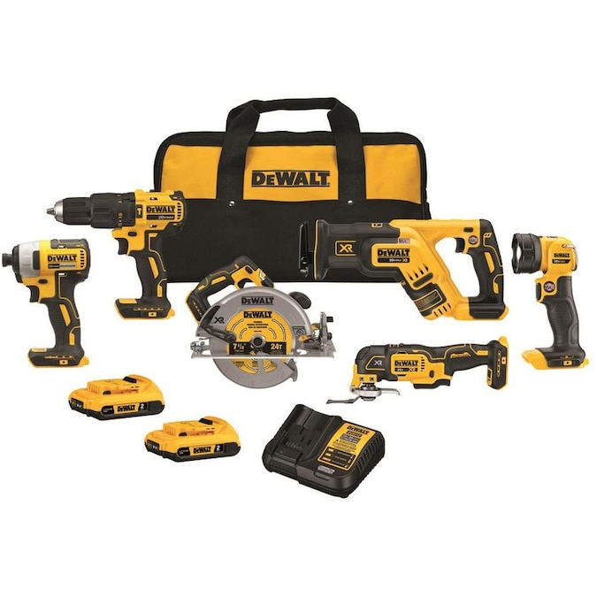 DEWALT 6-Tool 20-Volt Max Brushless Power Tool Combo Kit with Soft Case (Charger Included and 2-Batteries Included)