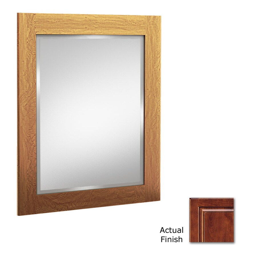 KraftMaid 21-in W x 30-in H Antique Chocolate with Mocha Glaze Rectangular Bathroom Mirror