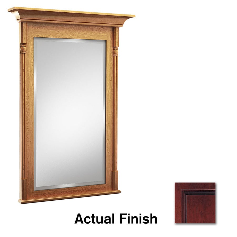 KraftMaid 24-in x 36-in Cabernet Rectangular Framed Bathroom Mirror