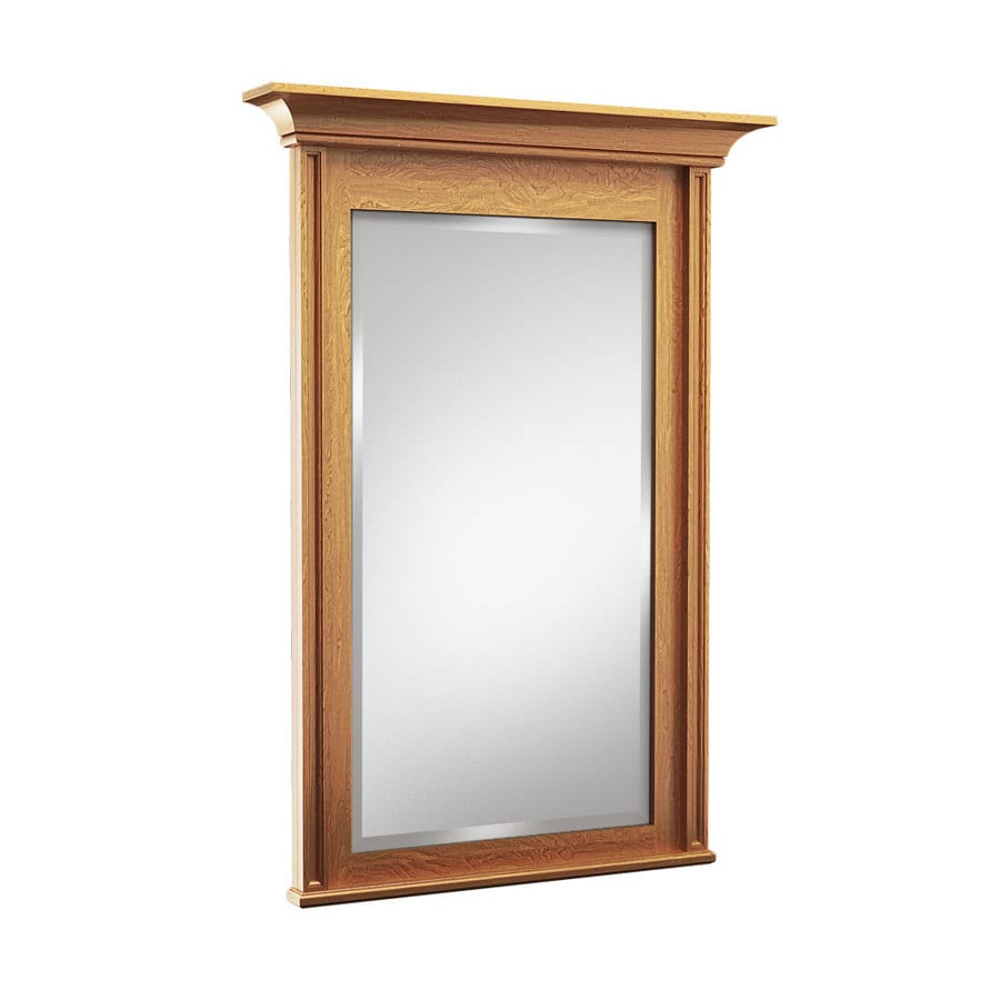 shop kraftmaid 30 in x 36 in praline rectangular framed bathroom mirror at