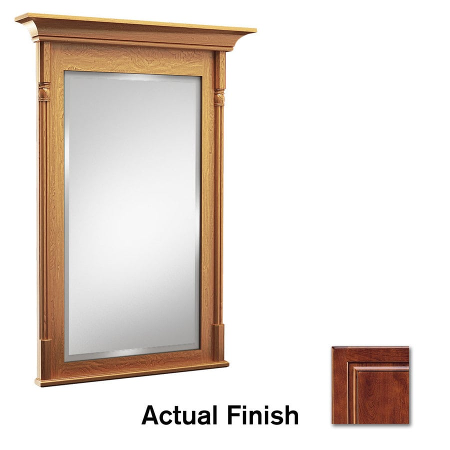 KraftMaid 30-in W x 36-in H Antique Chocolate with Mocha Glaze Rectangular Bathroom Mirror