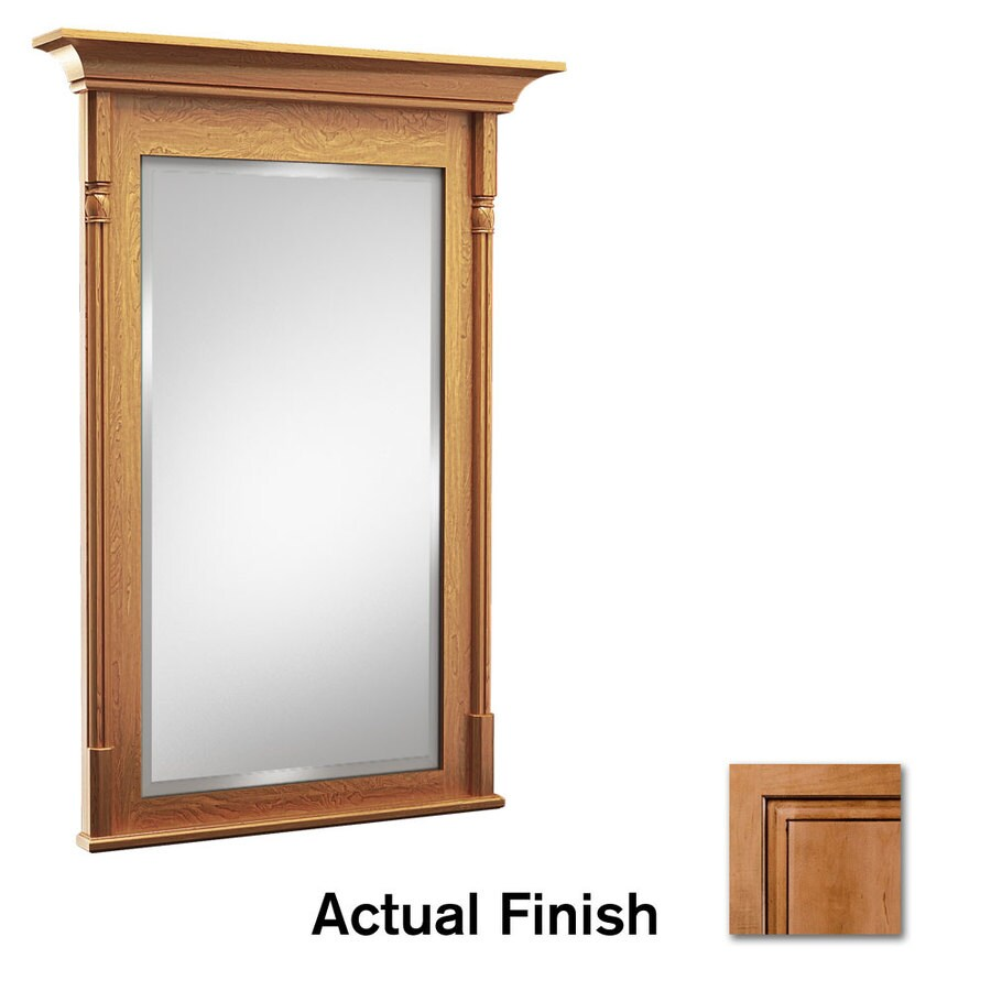 KraftMaid 30-in x 36-in Ginger with Sable Glaze Rectangular Framed Bathroom Mirror